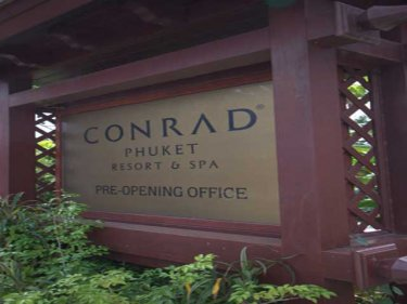 The sign that has fooled islanders for years. The Conrad is not going ahead on Phuket.