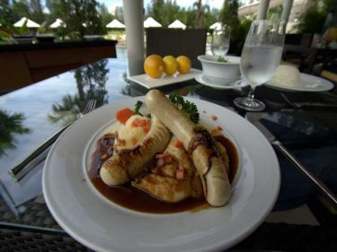 Bangers and mash poolside at @17th Restaurant