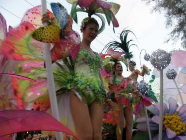 Sequins and colored feathers help dancers to samba