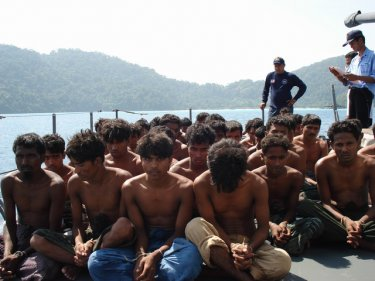 Captured Rohingya in the hands of the Royal Thai Navy last weekend