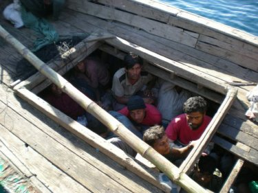 Rohingya below deck in a recent Andaman arrest