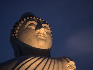 Up in the clouds in the blue of evening, the Big Buddha