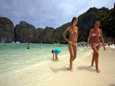 Maya Beach, where the film 'The Beach' was set, a key Phi Phi attraction
