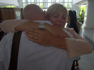 It's all over: Annice and Darren Smoel embrace today