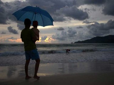 A sunset scene on Patong beach during the safer high season