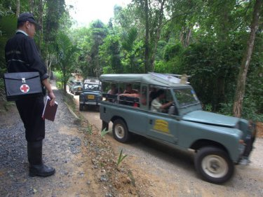 Siam Safari vehicles go trekking in the hills of Phuket