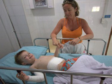 Aymeric Roussel, aged four, with mother Cecile at Phuket International
