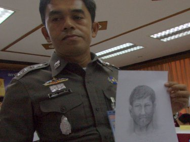 Colonel Wanchai Eakpornpit with the identity drawing of the suspect