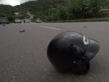 Tragic scene from a motorcycle crash on Patong Hill one year ago