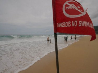 Karon beach, where lifeguards are searching for a missing tourist
