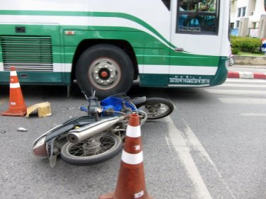 Aftermath of a motorcycle mishap in Phuket City this year