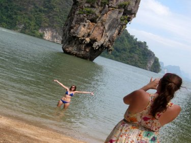 Tourists from Phuket enjoying James Bond island on Sunday