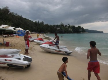 Jet-skis at Phuket's Surin beach this week, where they are banned