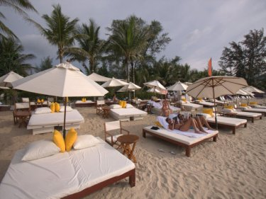 The Andara beach club on the sand at Kamala beach