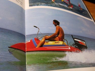 The book 'Phuket' published in 1985 depicts this tourism pioneer in Patong riding a ''water scooter'' in a ''moment of fun'' at Patong beach.