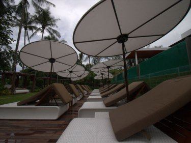 Space age umbrellas are a stylish feature of the new Club Med