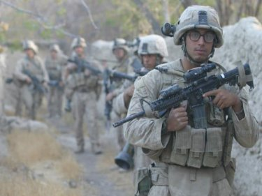 Dashawn Longfellow on patrol in Afghanistan, where he was wounded