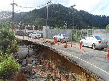 The road that was badly undermined during this week's Phuket flood