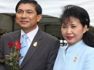 Governor Maitree and his wife, Pawinee, arrive on Phuket today