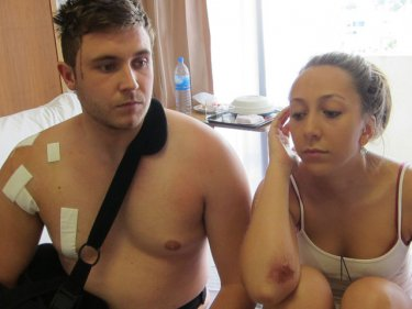 British knife attack victims Jack Cole and April Clifton today on Phuket