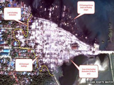 The satellite image that Human Rights Watch says shows massive destruction in a Burmese village by comparison with earlier photographs