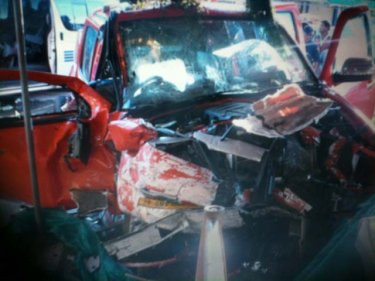 The wreck of a pickup involved in today's crash in southern Phuket