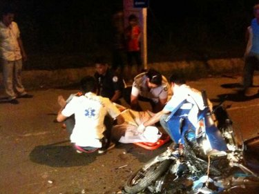 Paramedics at the scene of today's head-on collision in southern Phuket