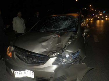 The car after hitting and killing a Phuket pedestrian last night