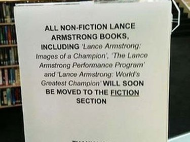 Sign at Many Library in Sydney, placed by a joking librarian