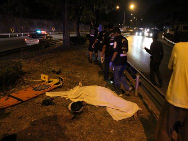 Death at speed: the scene of last night's tragic motorcycle crash on Phuket