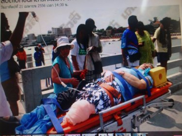 A man lost his leg in a horrific speedboat crash off Pattaya today