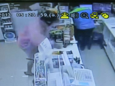 The knife-wielding robber jumps the store counter for the cash today