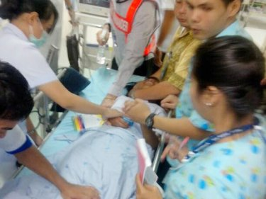 One of the children is treated at Patong Hospital after a hysteria outbreak
