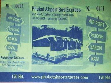 How the freshly printed Airport to Patong bus tickets will look