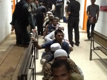 Rohingya detainees file out of Sadao Immigration this week