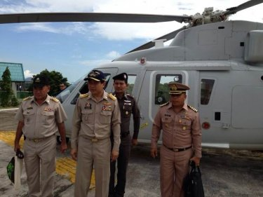 Phuket's Governor took a helicopter filght today to check traffic flow