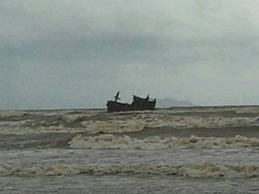 The Rohingya boat, washed ashore at Satun's Rawai beach early today