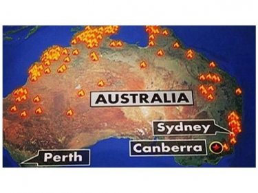 Flames from NSW bushfires appear to have spread all over Australia in this national map for American television