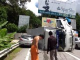 Ten-Wheel Terror as Truck Flips on Phuket's Patong Hill: Car Escapes Crushing