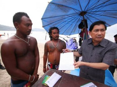 Phuket Governor Maitree Intrusud with jet-ski operators in Patong