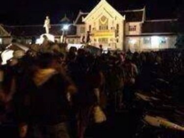 Protesters take Trang Provincial Hall last night. It's Phuket's turn today