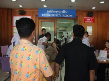 The German man is wheeled in at Vachira Phuket Hospital today