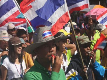Protesters on Phuket today renew demands for an end to corruption