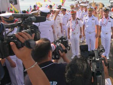 Royal Thai Navy officers greet Burmese officers on Phuket in February 2013