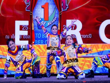 Members of the Phuket school team perform in the Bangkok contest