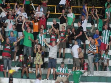 Winners are grinners: Phuket FC fans enjoy the change last night