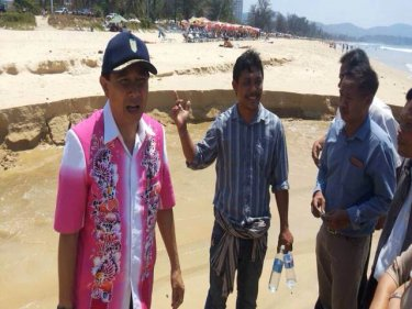 Governor Maitree investigates the pollution at Phuket's Karon beach