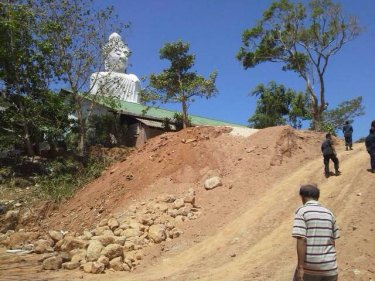 Earth downhill from the Big Buddha has brought fears of landslips
