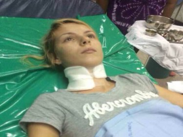 Yana Strizheus, 23, in a state of shock after her apprehension yesterday