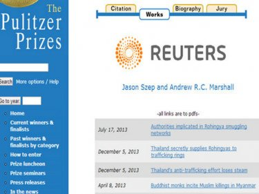 The first article mentioned in praise of Reuters on the pulitzer.org site is the one that contains the paragraph over which Phuketwan has been sued